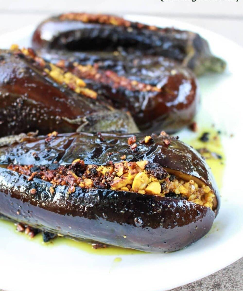 Indian Stuffed Eggplant | Catching Seeds