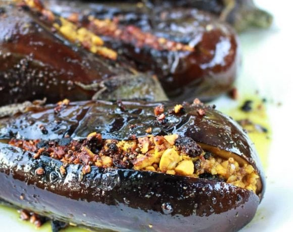 Indian Stuffed Eggplant | Catching Seeds