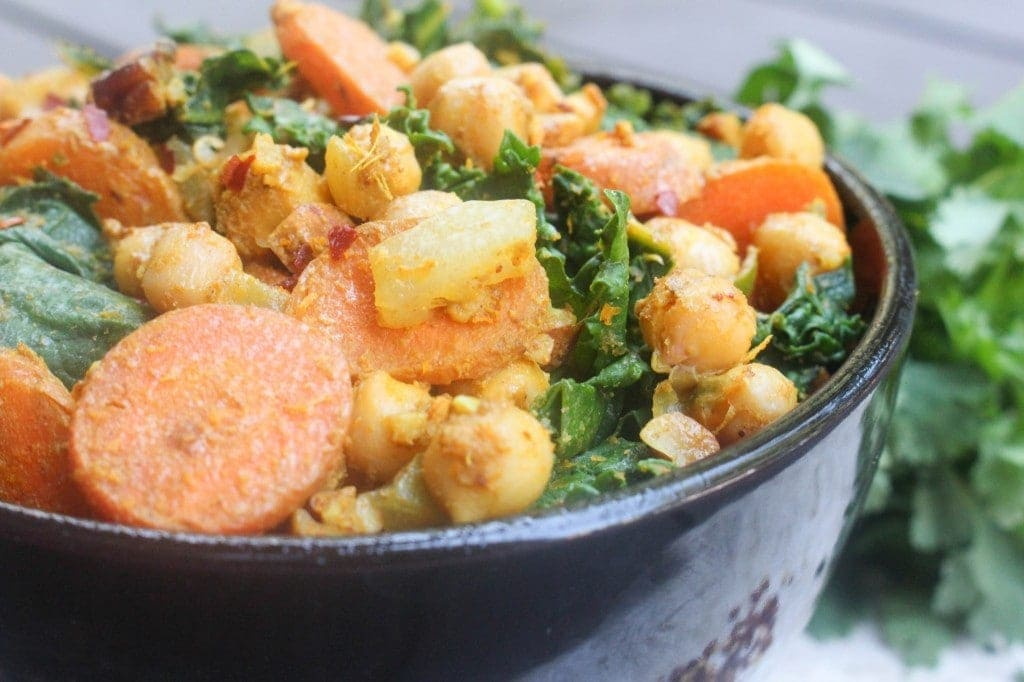 Curried Chickpeas & Kale | Catching Seeds
