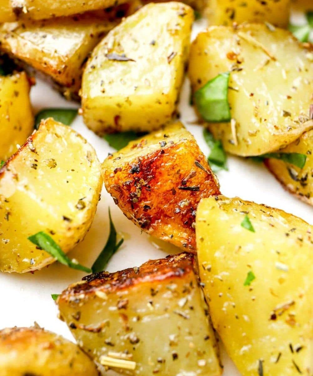A closeup of Herbs de Provence Roasted Potatoes.