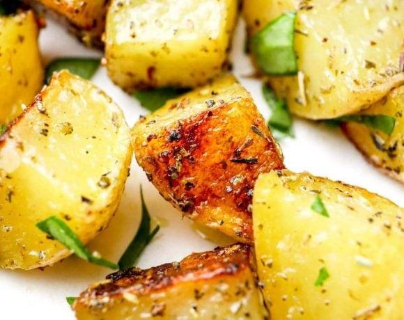 A closeup of Herbs de Provence Roasted Potatoes.