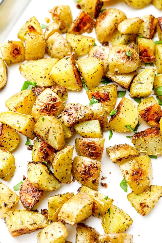 Herbs de Provence Roasted Potatoes on a baking sheet.