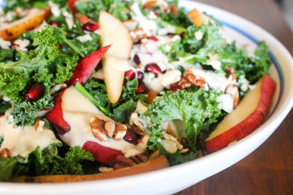 Kale Salad with Pears & Creamy Maple Dressing | Catching Seeds