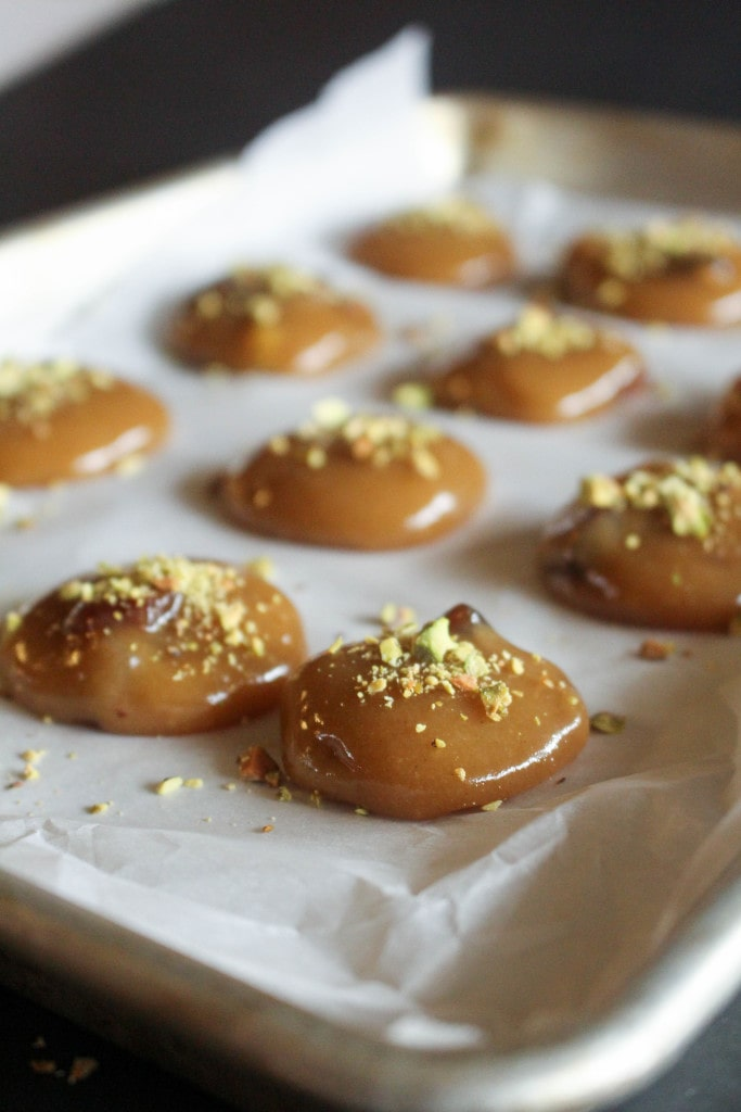 Honey Tahini Caramels with Apricots & Pistachios