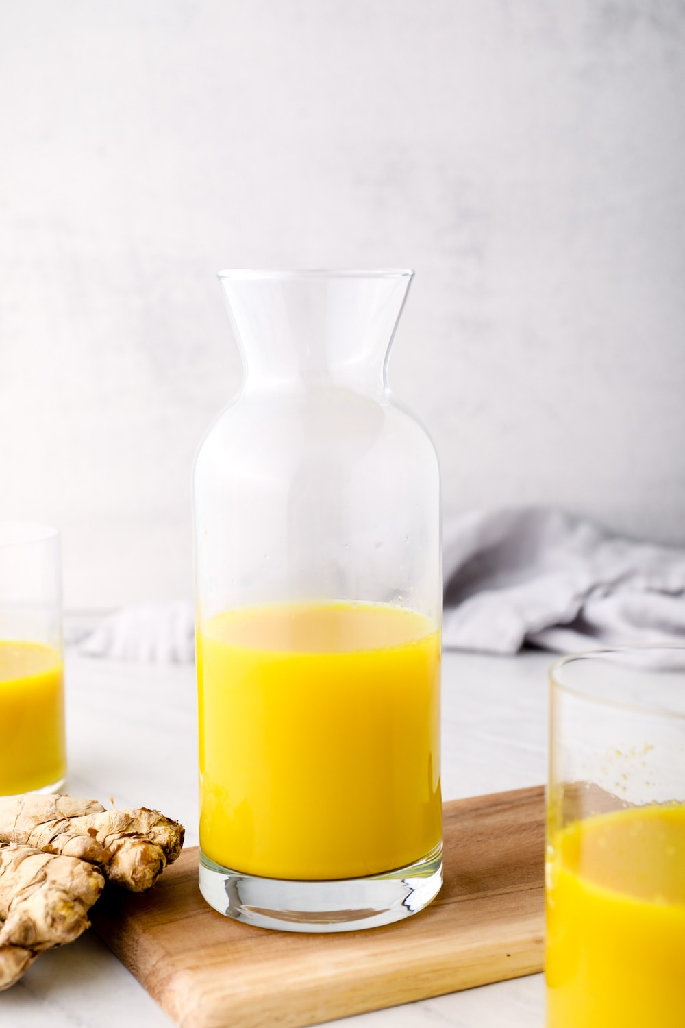 Ginger Juice in a jar with turmeric.