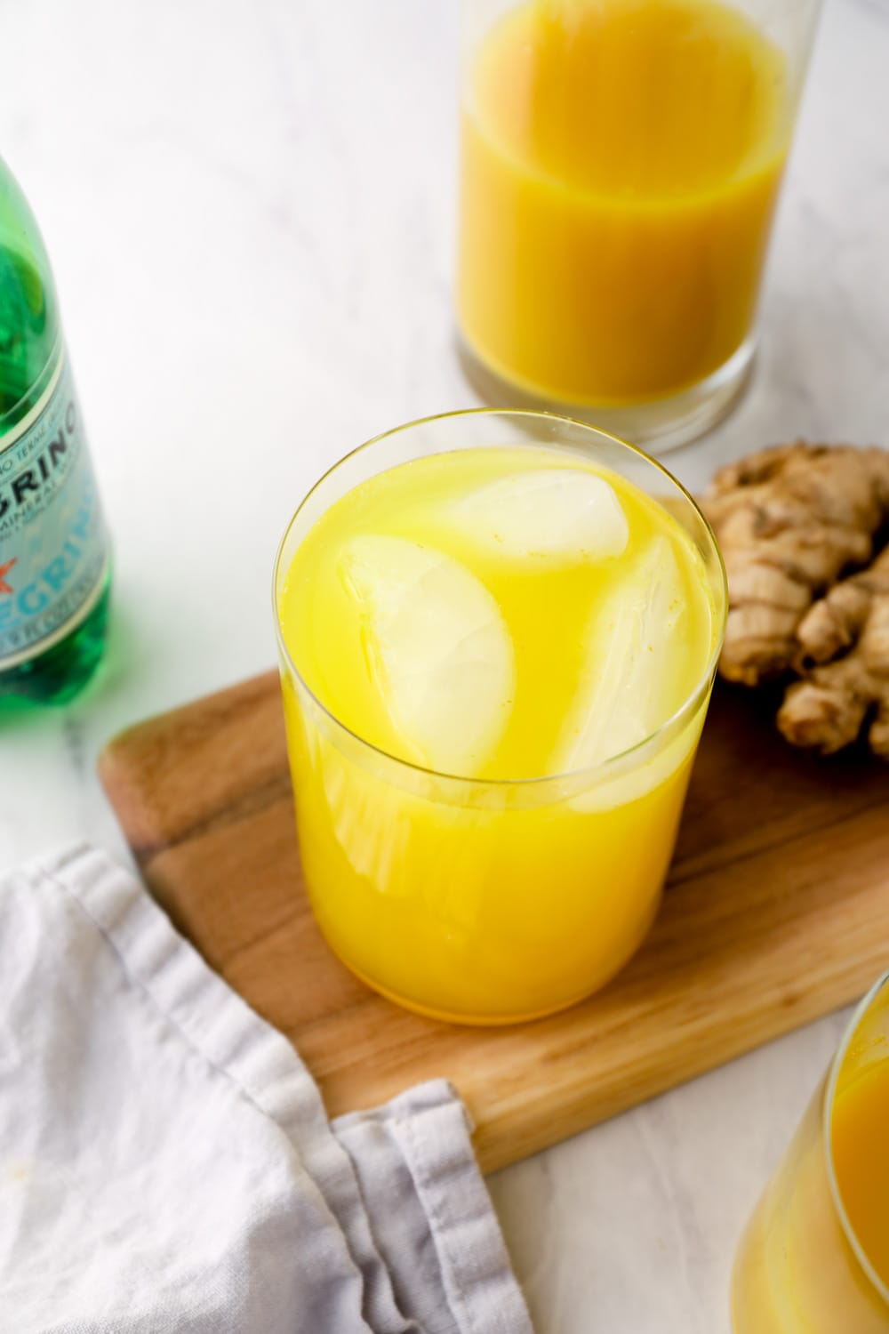 Ginger Juice with sparkling water over ice.