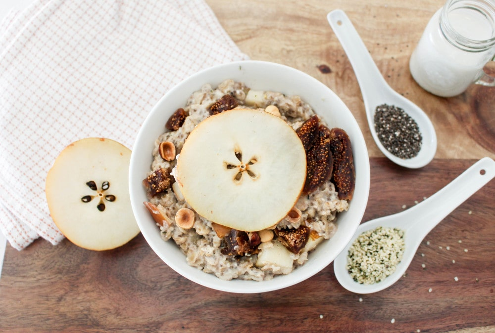Figgy Oatmeal w Pears + Toasted Hazelnuts | Catching Seeds