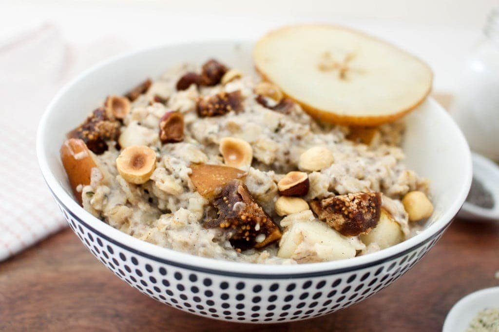 Figgy Oatmeal w Pears + Toasted Hazelnuts | Catching Seeds