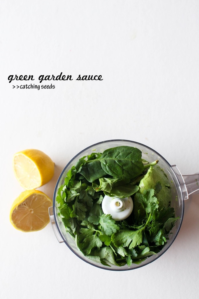 This fresh sauce is filled with herbs, creamy avocado, and bright lemon!