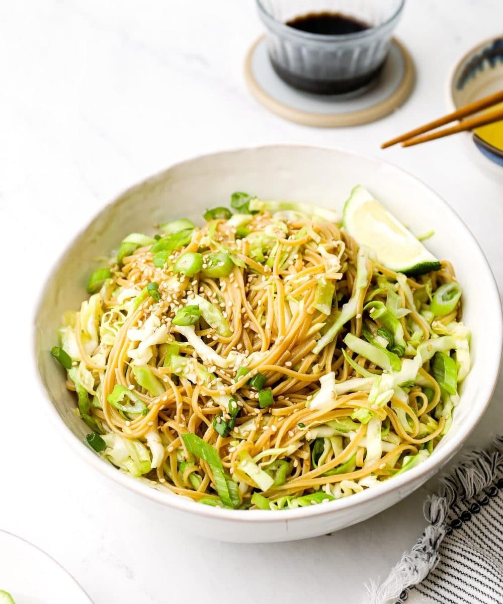 Sesame Cabbage Noodles with soy sauce and gluten free brown rice noodles.