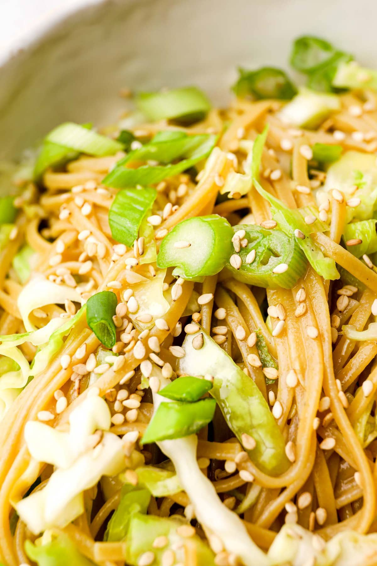 A closeup of Sesame Cabbage Noodles with sesame seeds and scallions.