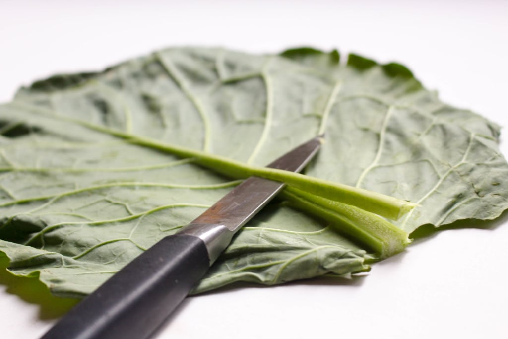 Delicious and fresh collard wraps and a secreat to getting them to roll perfectly every time! #glutenfree, #vegan