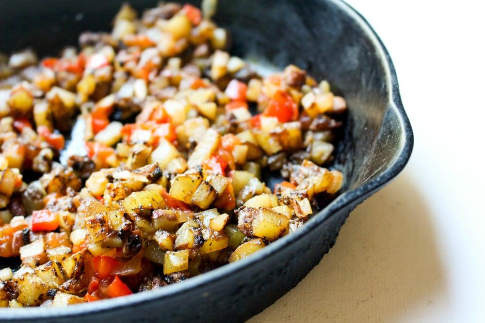 Potato, bell pepper, potato, and onion filling