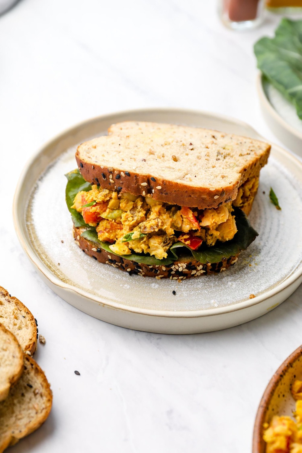 A Curry Chickpea Salad sandwich.