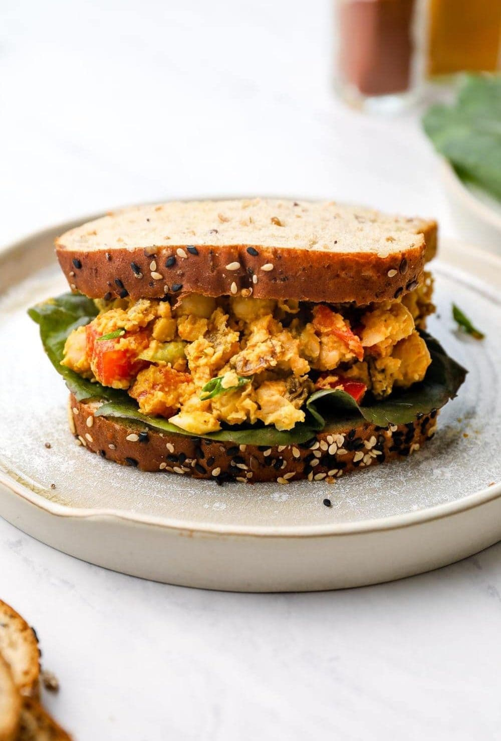 Curry Chickpea Salad in a sandwich.