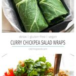 These detox Curry Chickpea Salad wraps are an easy way to get in your veggies! A healthy recipe where a creamy curry spice filling gets wrapped in a crunchy collard green. An easy on-the-go lunch idea! | CatchingSeeds.com