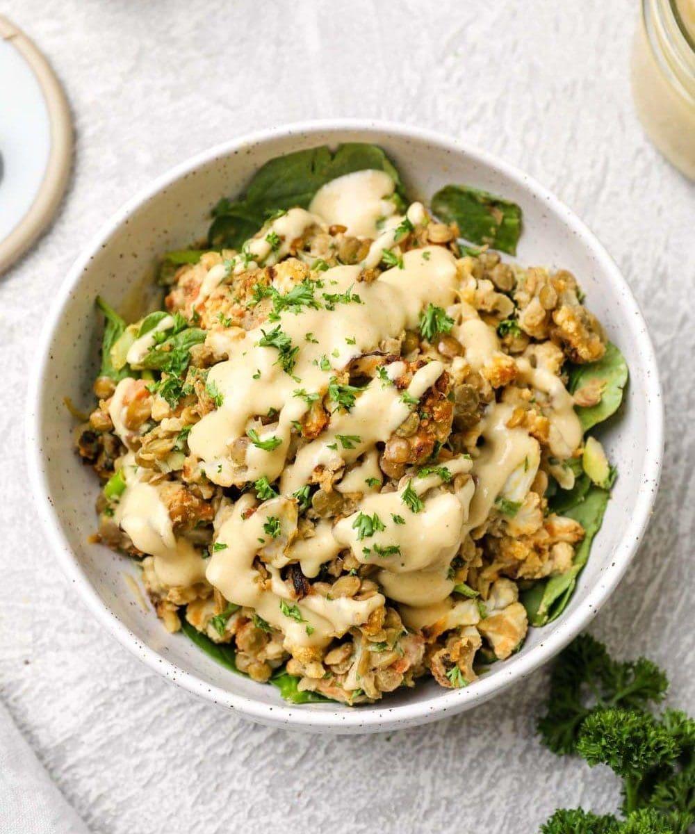 Cauliflower Lentil Salad with maple tahini dressing and parsley.