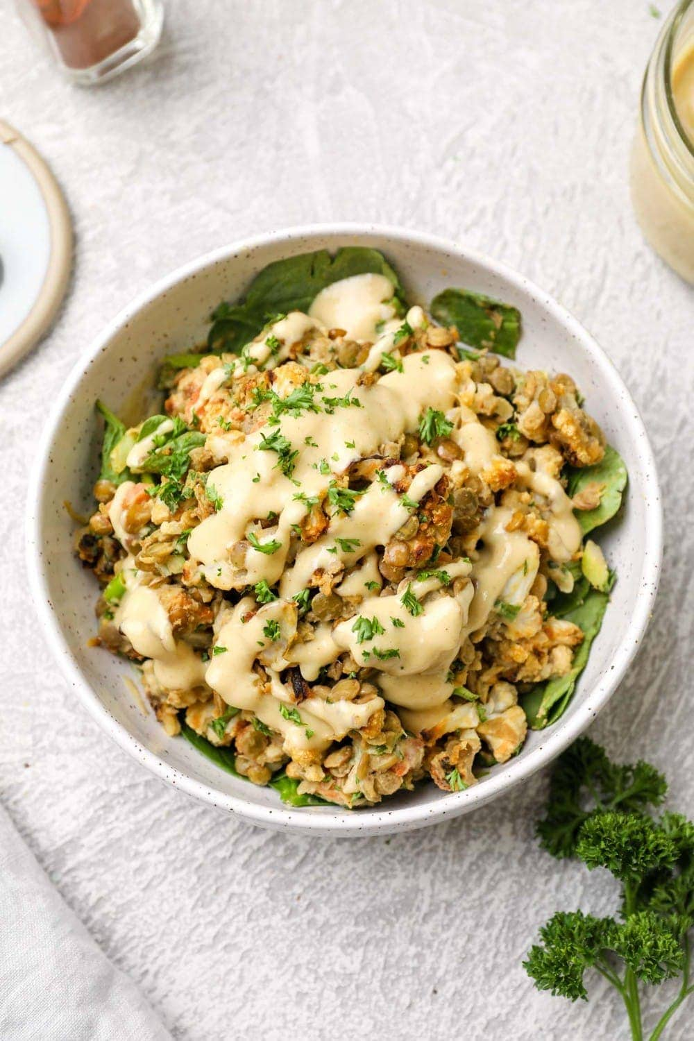 Cauliflower Lentil Salad with maple tahini dressing and parsley.