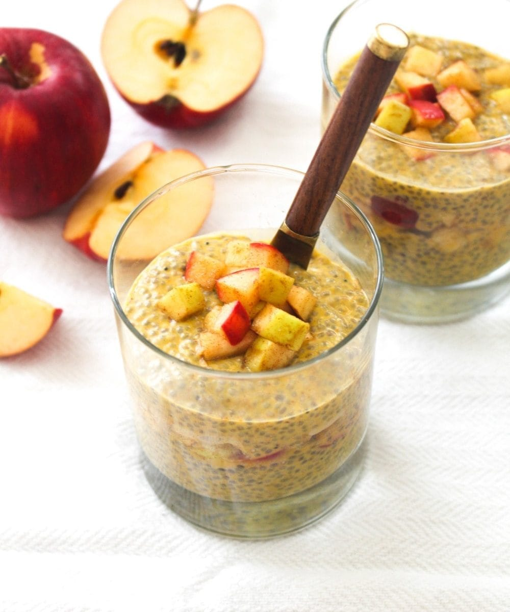 5 ingredient Pumpkin Chia Seed Pudding layered with 3 ingredient apple compote