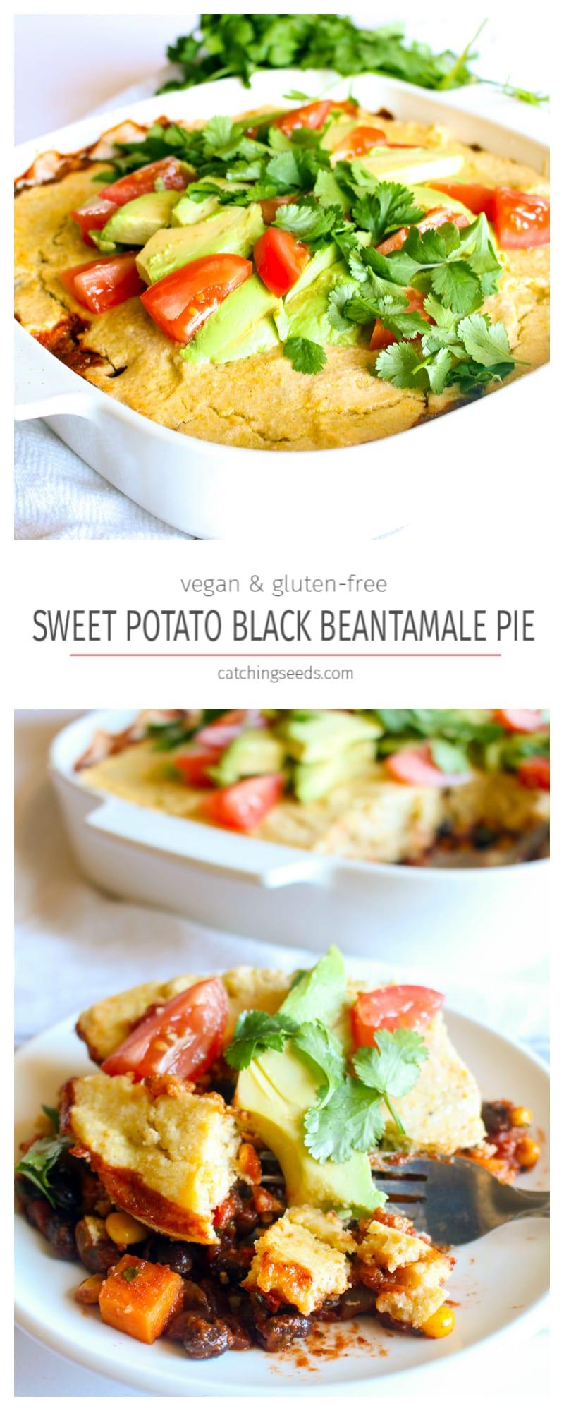 Sweet Potato Black Bean Tamale Pie