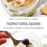Paleo, grain free, vegan tigernut cereal squares. Crunchy, sweet and irresistible!