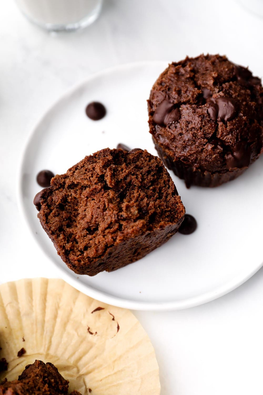 Gluten Free Chocolate Muffins with a fudgy texture