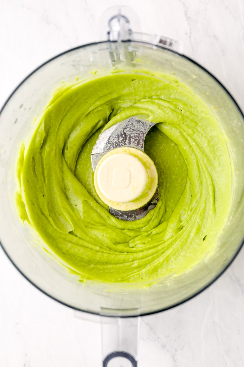 Avocado Butter being made in a food processor.