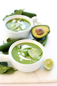 A cool, creamy, and refreshing chilled avocado and cucumber raw soup recipe!