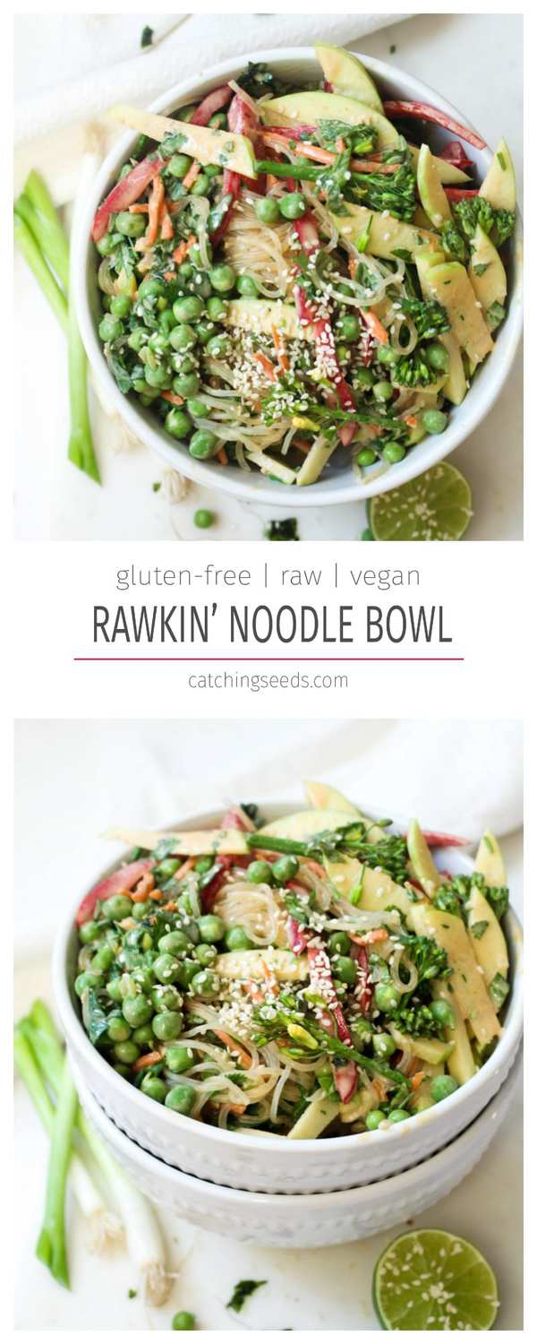 This quick & easy noodle bowl is no-cook and ready in 10 minutes! It is full of veggies and topped with an almond butter sauce. Plus, it's gluten-free and vegan!