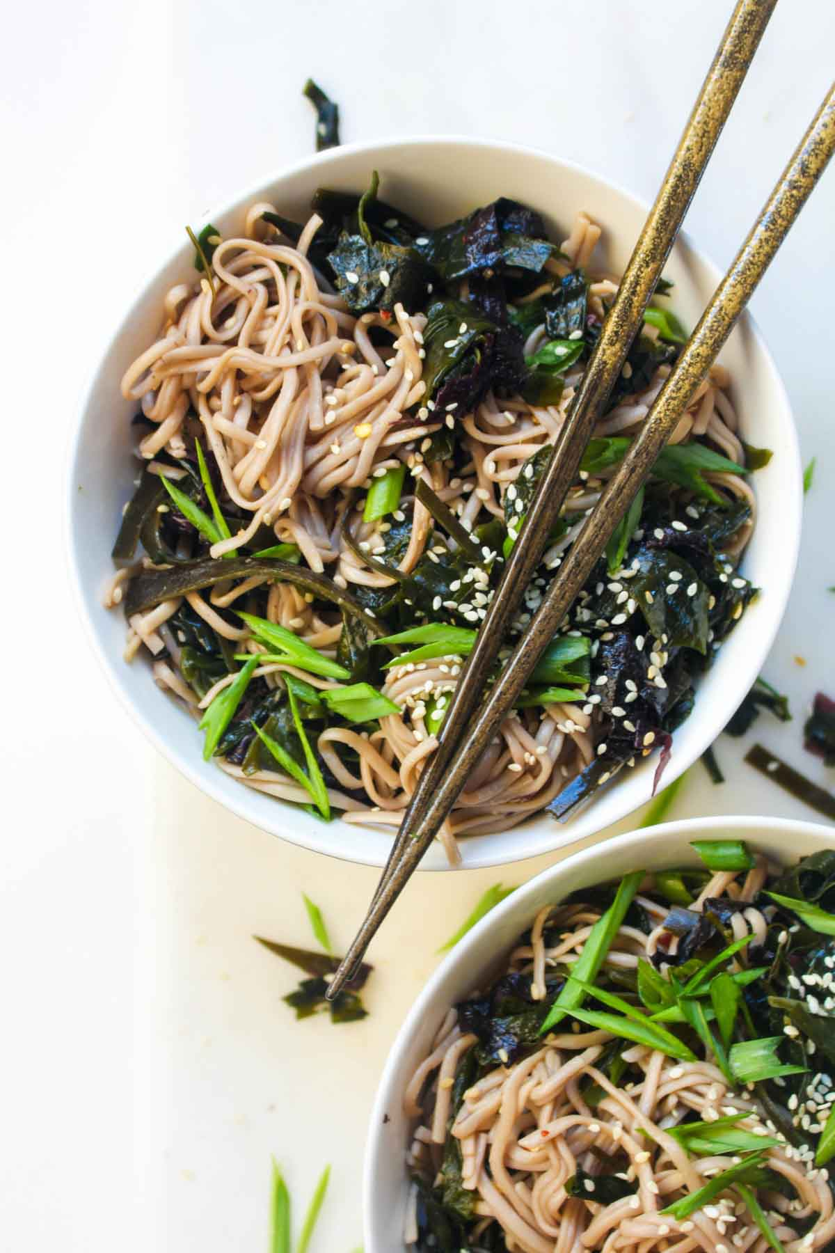 Seaweed Salad Soba Noodle Bowl Catching Seeds