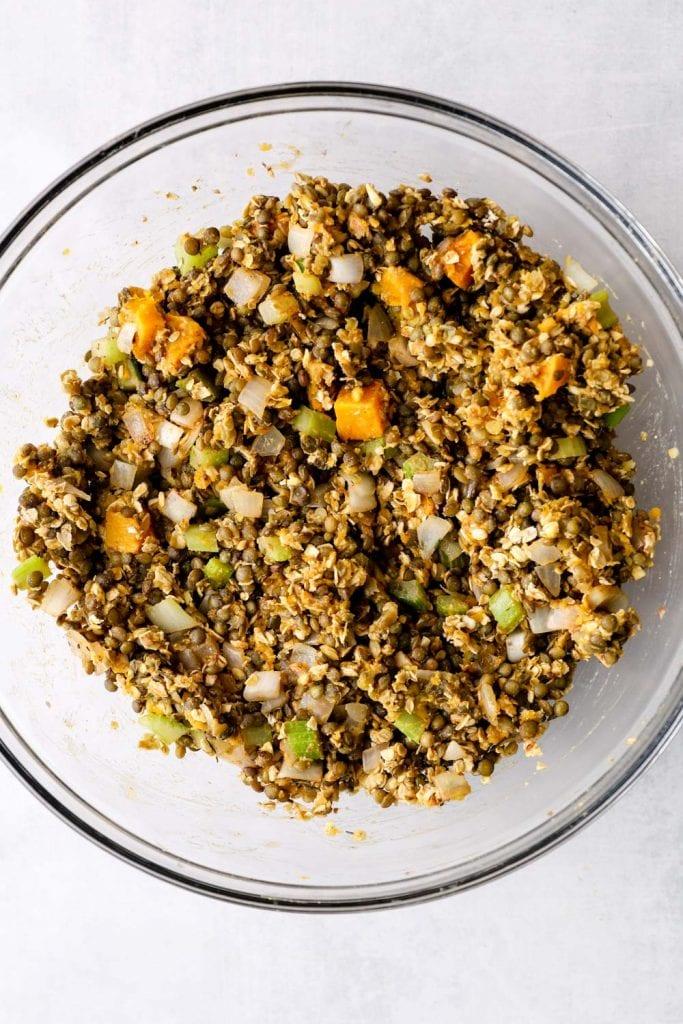 The lentil loaf filling stirred together in a bowl.