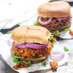 This Pumpkin Sloppy Joes recipe has a killer homemade sauce that is sweet, tangy, and perfectly tomato-y. They are an easy, gluten free, and vegan weeknight dinner. The addition of pumpkin makes them perfect for fall! | Catching Seeds