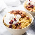 This is like eating Pumpkin Pie meets Rice Pudding for breakfast! And it is secretly healthy! This vegan and gluten free recipe is flavored with pumpkin and pumpkin pie spice. | CatcingSeeds.com