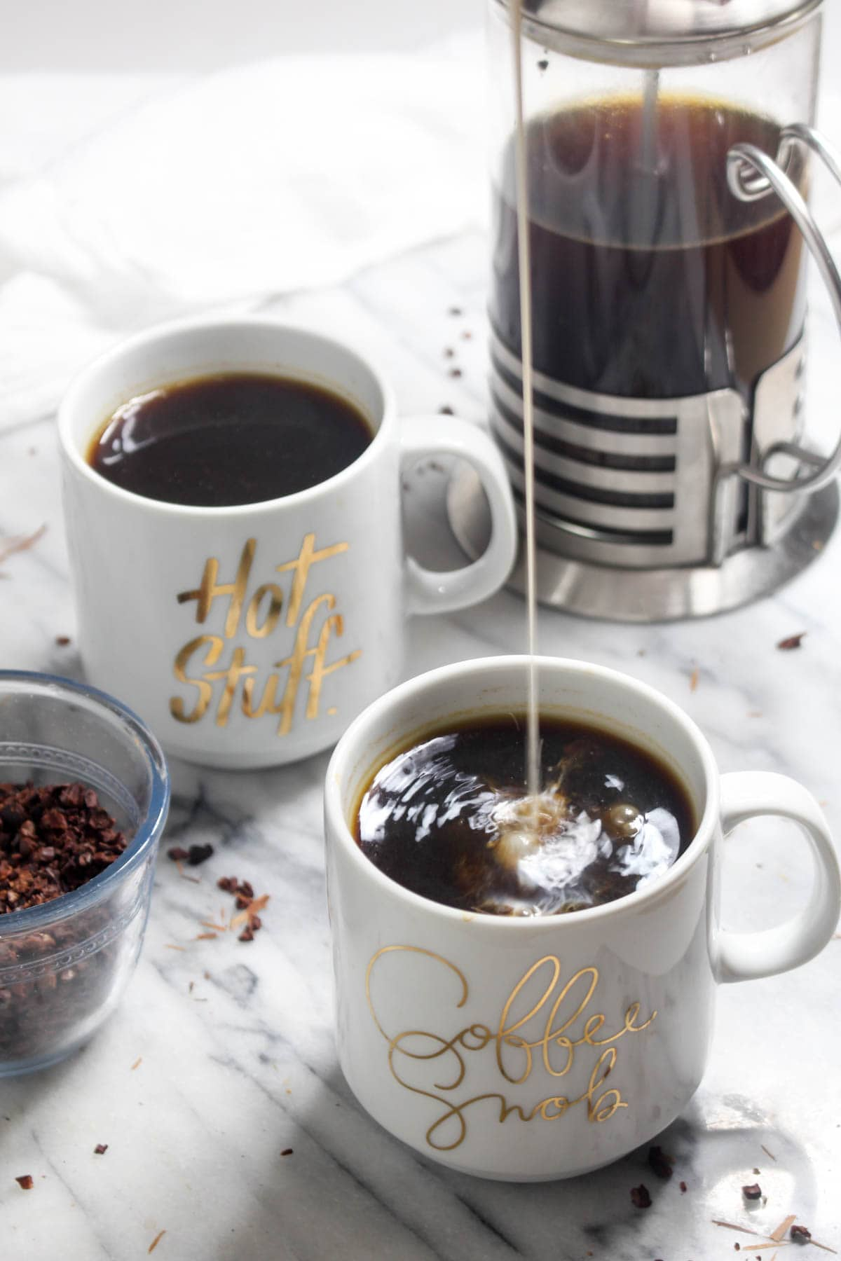 This Herbal Coffee recipe is a great way to enjoy the taste of coffee without the caffeine! It is rich and bold. Directions on how to make light, medium, and dark roasts. | CatchingSeeds.com