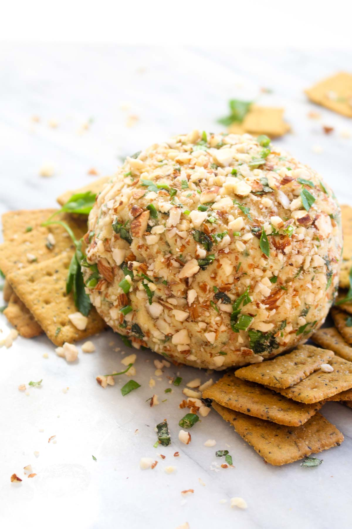 This Vegan Cheese Ball with Herbs is a make-ahead party appetizer that is sure to please a crowd! It is rich, creamy, spreadable, and full of fresh herb flavor.