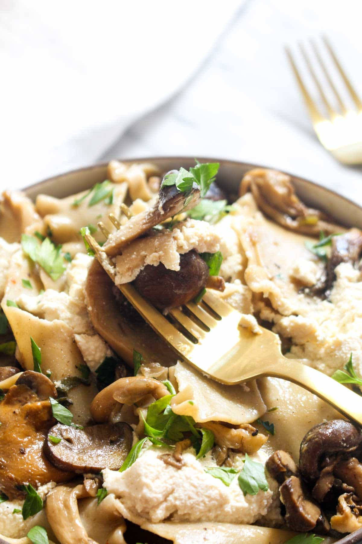 This Broken Wild Mushroom Lasagna recipe is warm, earthy and impressive, but is a secretly an easy to make and healthy gluten free and vegan dish!