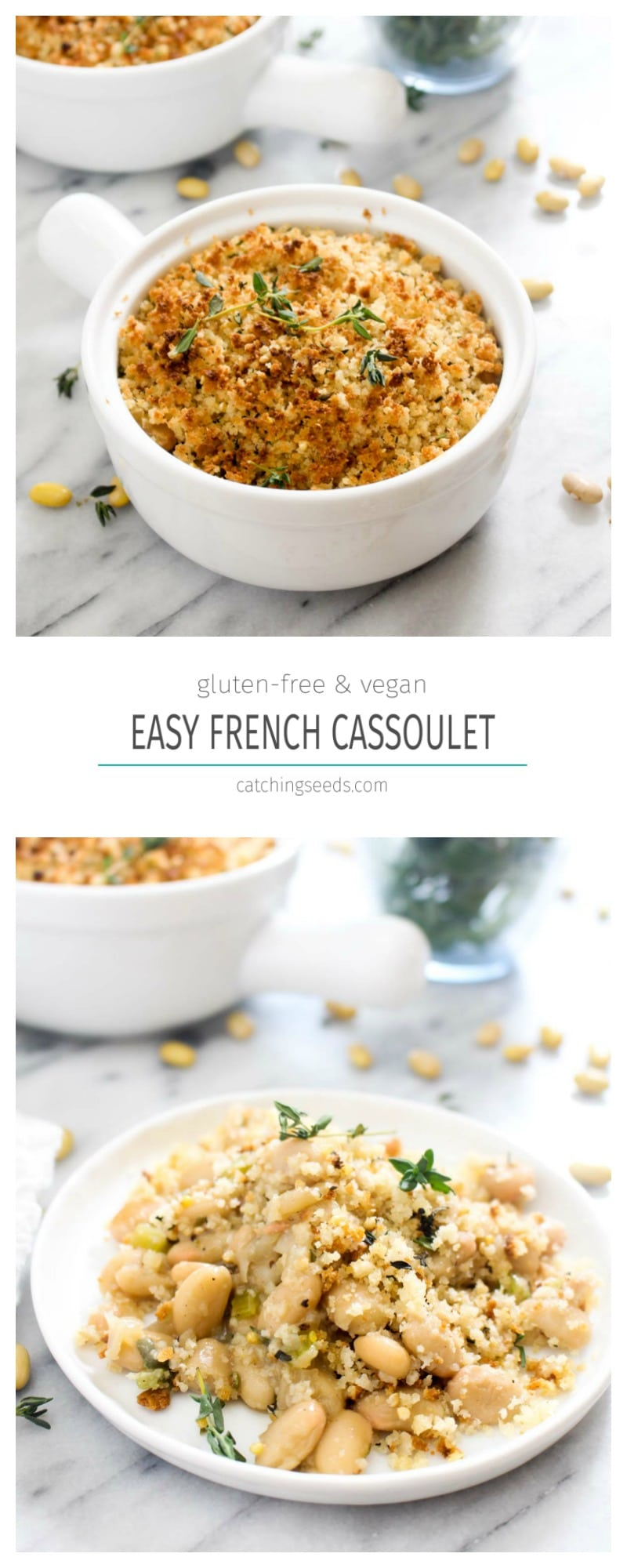 This quick 30 minute Easy Vegan Cassoulet recipe is bursting with French flavor. Beans are slow simmered in a flavorful sauce and then topped with golden brown breadcrumbs to make the perfect side to dinner. A few vegan hacks allow us to make this recipe feel traditional while omitting the meat. | CatchingSeeds.com