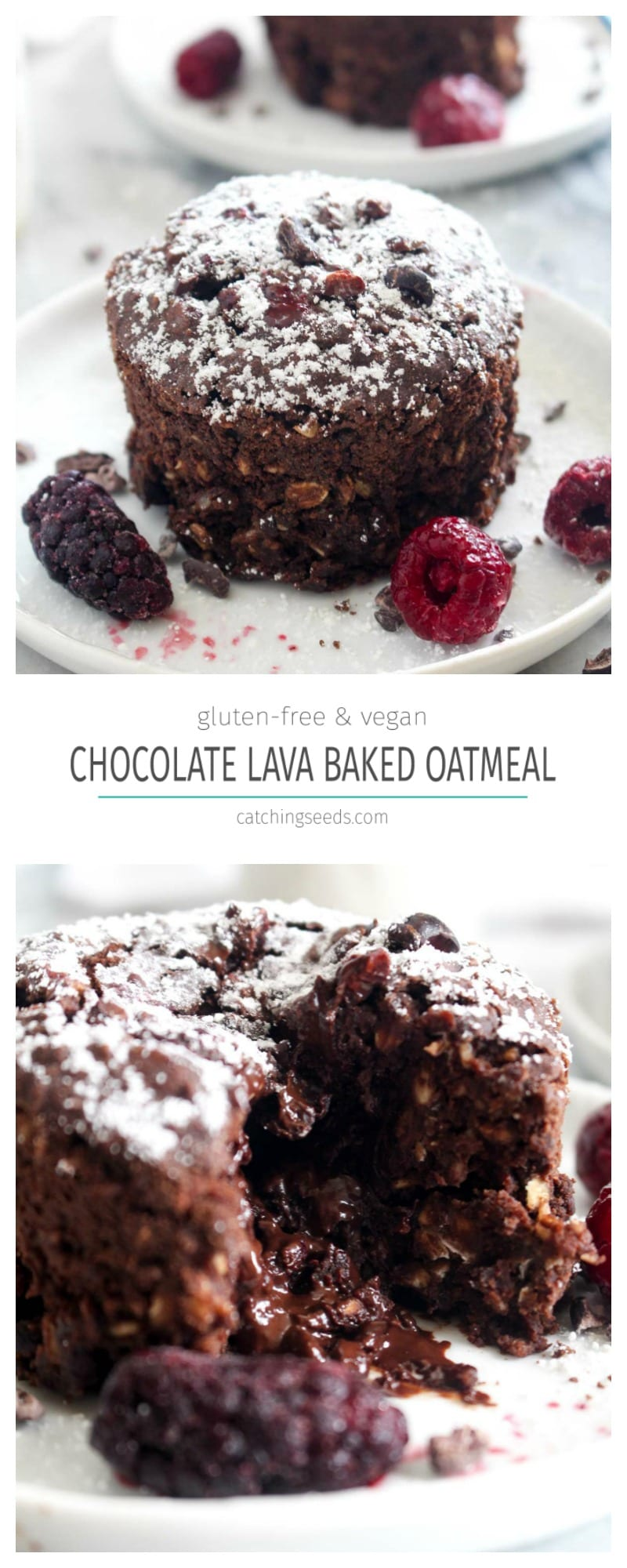 This Chocolate Lava Baked Oatmeal is a rich, chocolate-y breakfast cake that is secretly healthy and made with whole food ingredients! This cake is both gluten-free and vegan. | CatchingSeeds.com