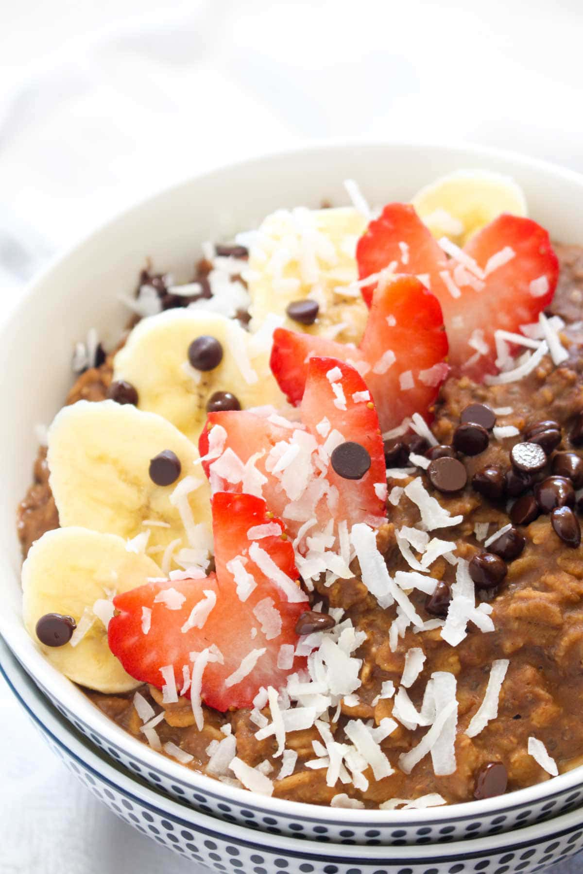 This Chocolate Protein Oatmeal is like eating dessert for breakfast. So rich, creamy, and decadent but secretly healthy! This easy recipe requires just 5 ingredients and takes 10 minutes to make. | CatchingSeeds.com
