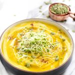 This Golden Beet and Cauliflower Soup recipe is a fast and easy 3 step dinner that is full of flavor and veggies! Ready to eat in just 35 minutes. | CatchingSeeds.com