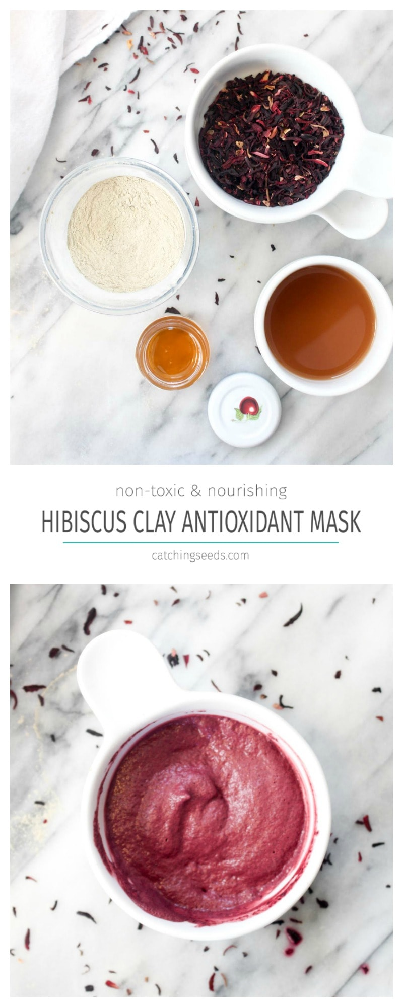This Hibiscus Clay Antioxidant Face mask will infuse your face with anti-aging antioxidants and banish blackheads using all natural non-toxic ingredients! | CatchingSeeds.com