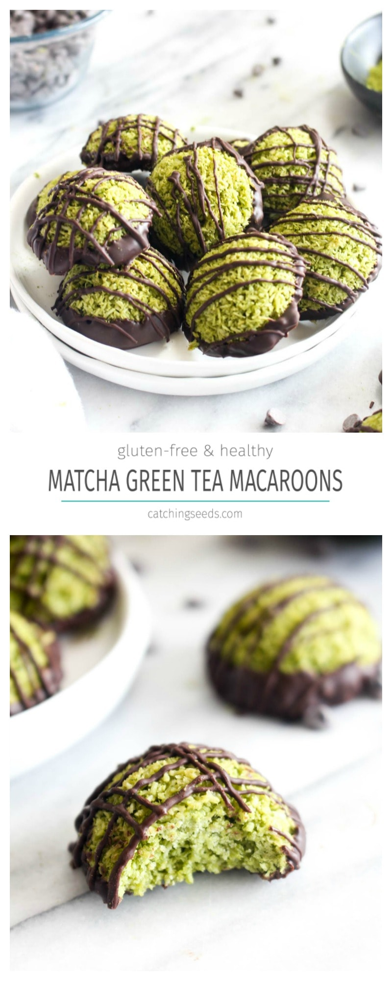 These Matcha Green Tea Macaroons are bursting with coconut and coated in rich dark chocolate. These cookies can be made in 30 minutes and are a gluten free healthy treat! | CatchingSeeds.com