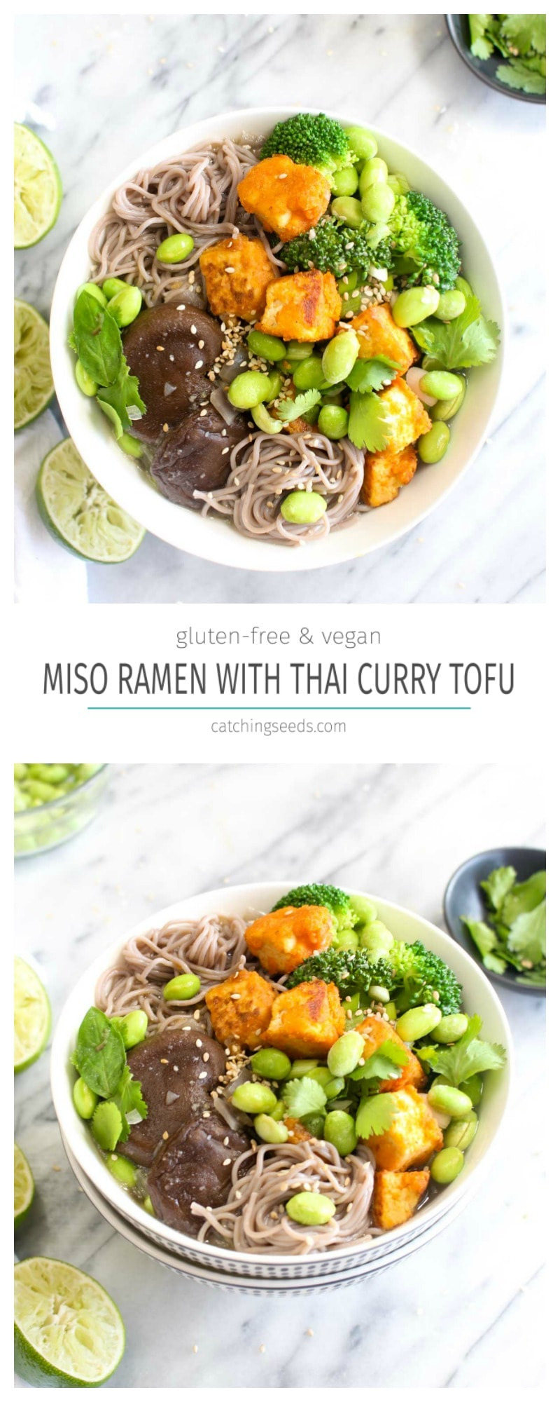 This Vegan Miso Ramen with Crispy Thai Curry Tofu is an explosion of flavor and can be made at home! This recipe is also gluten free and healthy. | CatchingSeeds.com