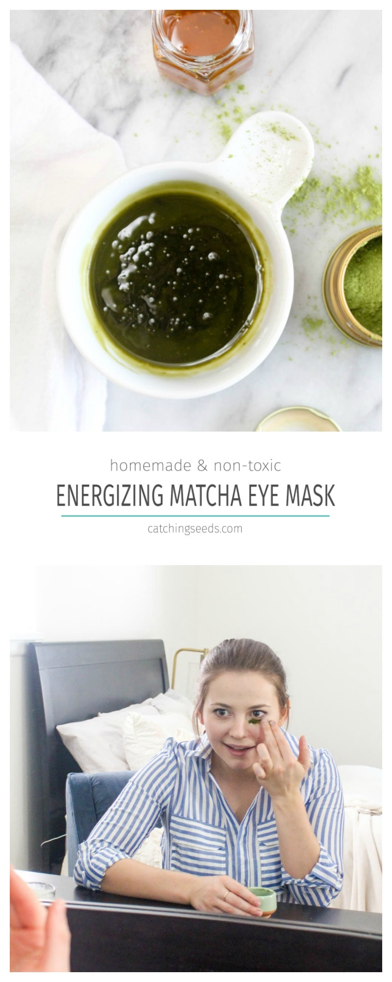 This homemade Energizing Green Tea Eye Mask will de-puff your eyes and reduce the visibility of bags! It is made with just 3 simple and non toxic ingredients. | CatchingSeeds.com
