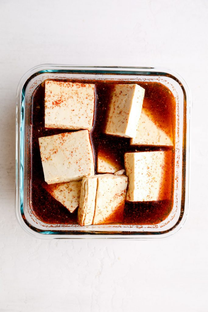 Tofu in a marinade.