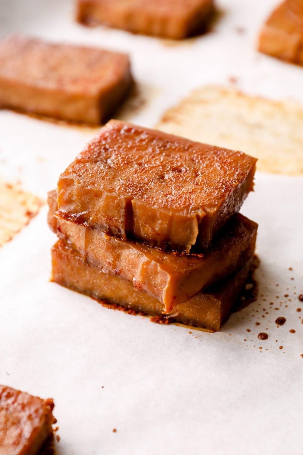 A stack of baked tofu.
