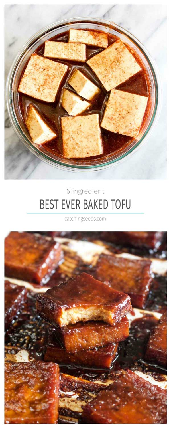 A collage of marinating tofu and finished baked tofu on a sheet pan.
