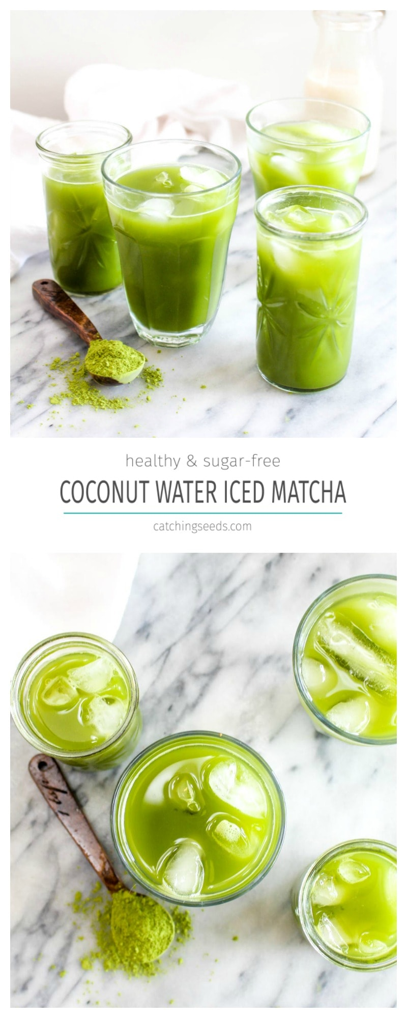 A collage image of coconut water iced matcha.