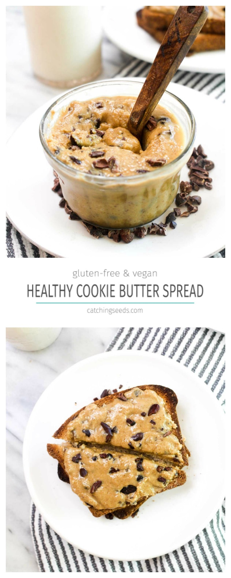 This Healthy Cookie Butter recipe is an easy 10 minute 2 step recipe! This sweet spread is gluten-free, vegan, and paleo. | CatchingSeeds.com