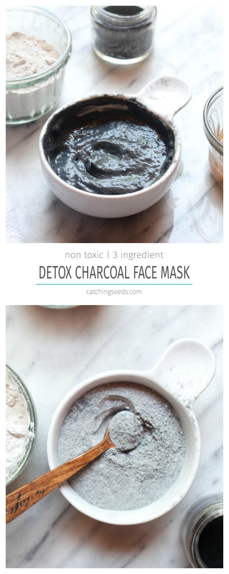 This easy DIY Detox Charcoal Face Mask offers all the benefits of the fancy store bought masks, at a fraction of the cost! Charcoal and clay will pull dirt and oil from your pores and leave you with soft clean skin and visibly smaller pores. | CatchngSeeds.com